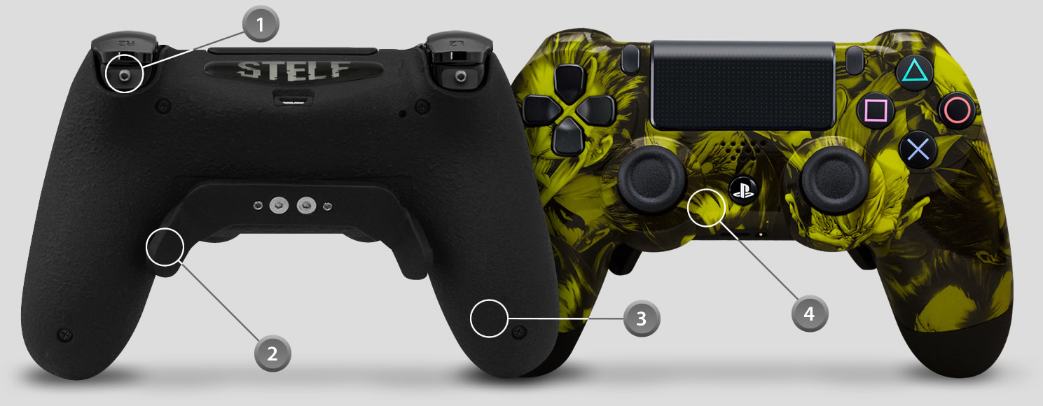 detalhes controle de playstation dualshock 4 personalizado